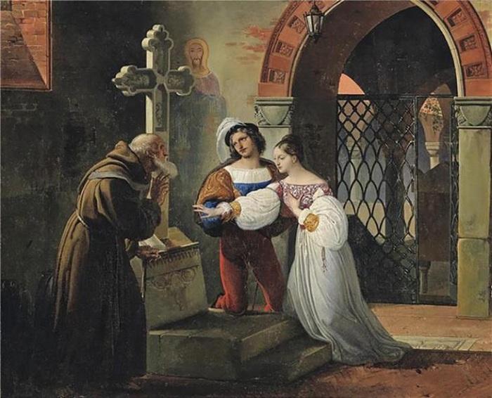 «Брак Ромео и Джульетты». (1830 год). Автор:  Франческо Хейз.(Юноша отдал Джульетте сердце, и она взяла его со страхом... Тайну сохраня, старик Лоренцо их соединил законным браком...)