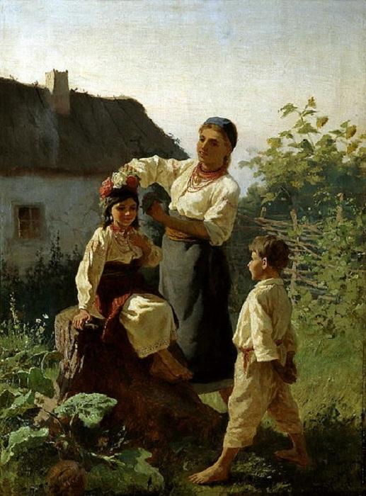 Надевают венок. (1893). Автор: Константин Трутовский.