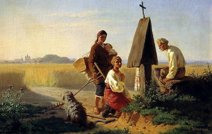 Сбор на церковь (1863). Автор: Константин Трутовский.
