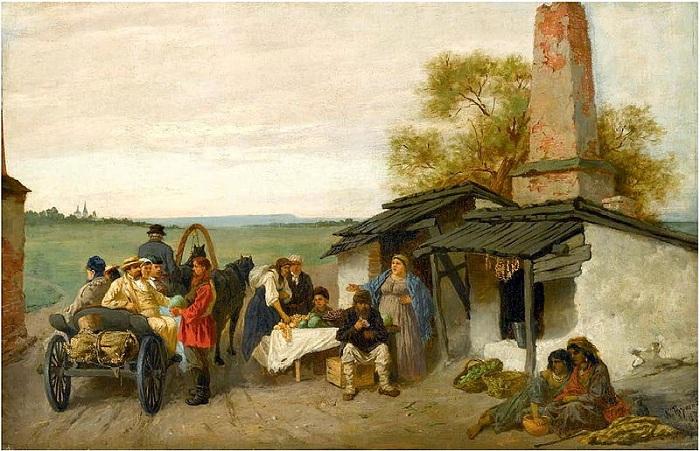 Городским путникам предлагают фрукты на обочине. (1873). Автор: Константин Трутовский.