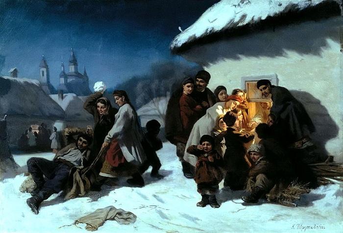 Колядки в Малороссии. (1864). Автор: Константин Трутовский.