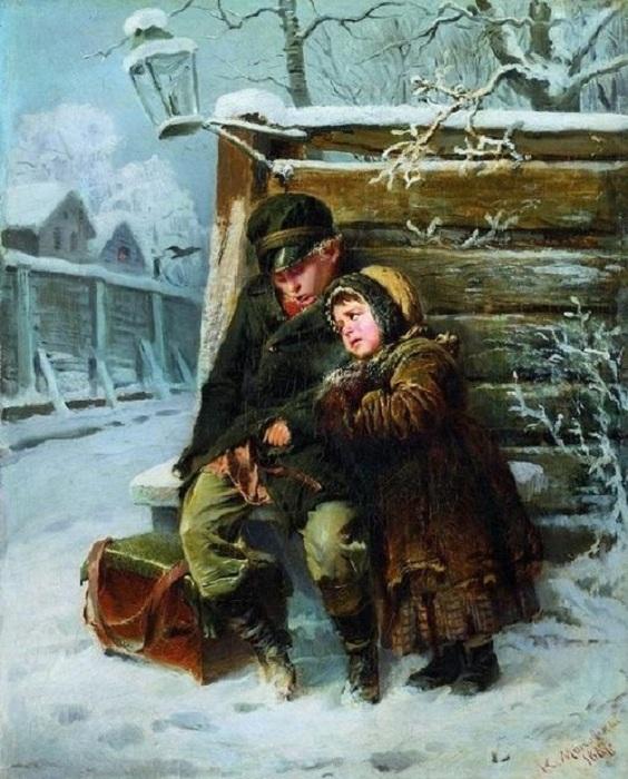 Маленькие шарманщики зимой. Автор: Константин Трутовский.