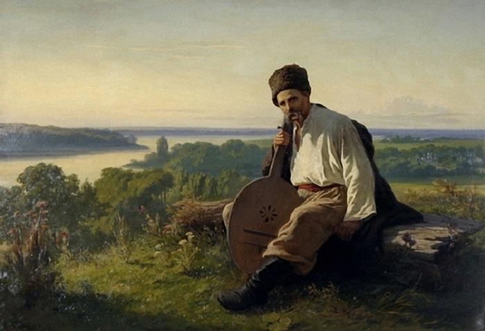 Тарас Шевченко с кобзой над Днепром. (1875). Автор: Константин Трутовский.
