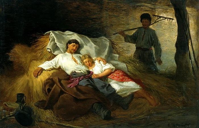 На сеновале, 1872. Автор: Константин Трутовский.