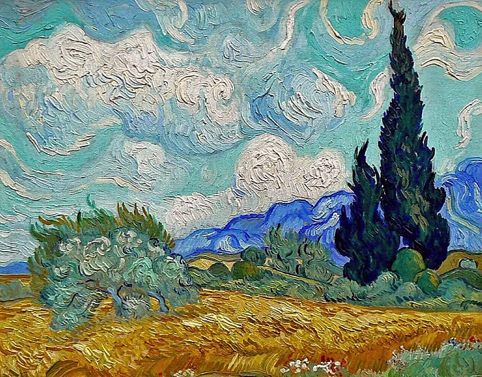 Пшеничное поле с кипарисом. Автор: Ван Гог.