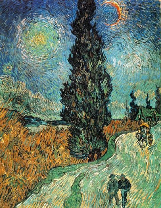 Пейзаж с кипарисом и звездой. Автор: Ван Гог.