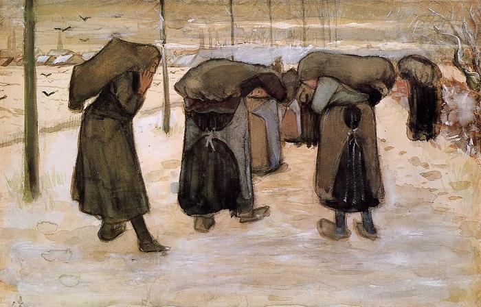 Женщины-шахтеры. Переноска угля. (1881-82 г.г.) Автор: Ван Гог.