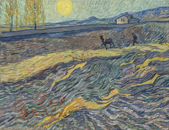 «Вспаханное поле и пахарь».(1889 год). Автор: Ван Гог.