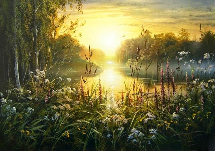 «Закат на реке». Автор: Виктор Юшкевич.