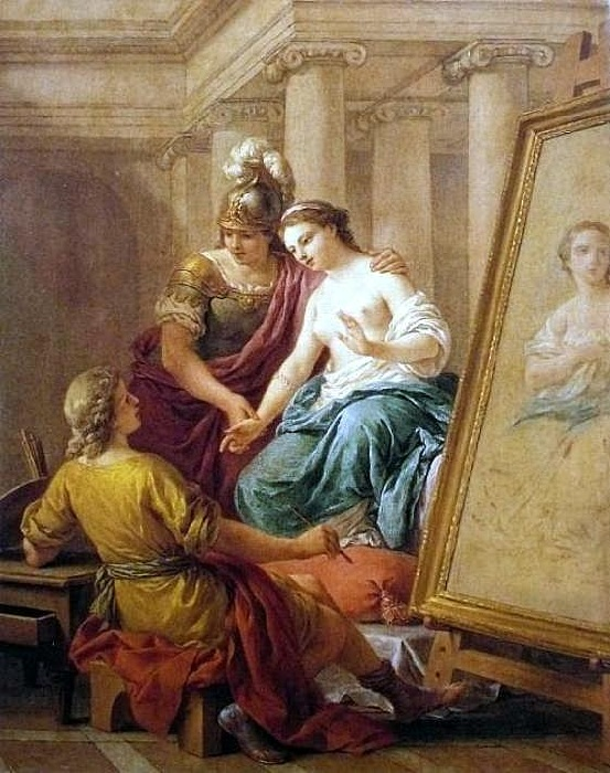 Апеллес влюбляется в Кампаспу. (1772). Автор: Луи Жан-Франсуа Лагрене.