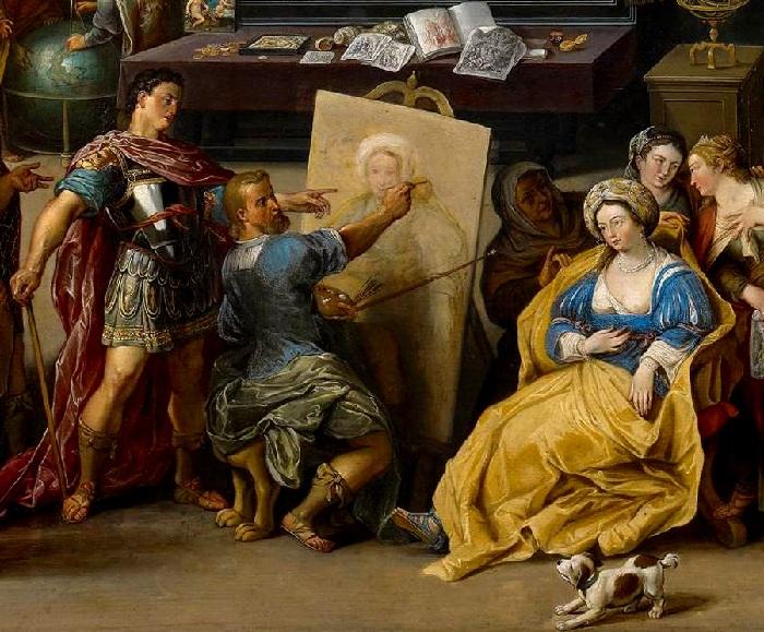 Апеллес рисует Кампаспу (Александр Македонский в мастерской Апеллеса). Фрагмент. (1630). Автор: Виллем ван Хахт.