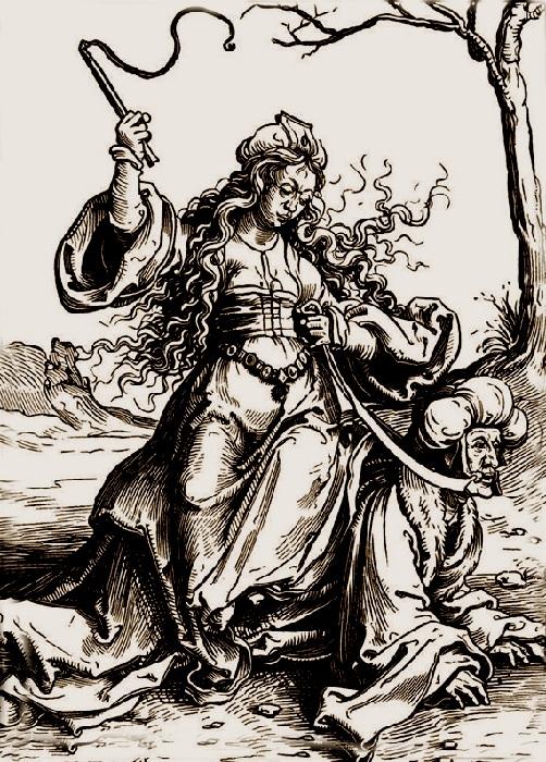 Аристотель и Филлис. (1521). Гравюра на дереве. Автор: Лука Лейденский.