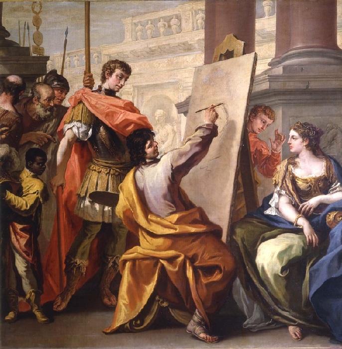 Апеллес рисует Кампаспу. (1700–1704). Автор: Себастьяно Риччи.