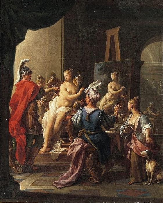 Апеллес пишет Кампаспу. (1720). Автор: Франческо Тревизани.