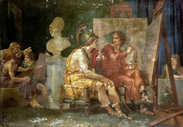 Александр Великий в мастерской Апеллеса. (1792). Автор: Джузеппе Кейдс.