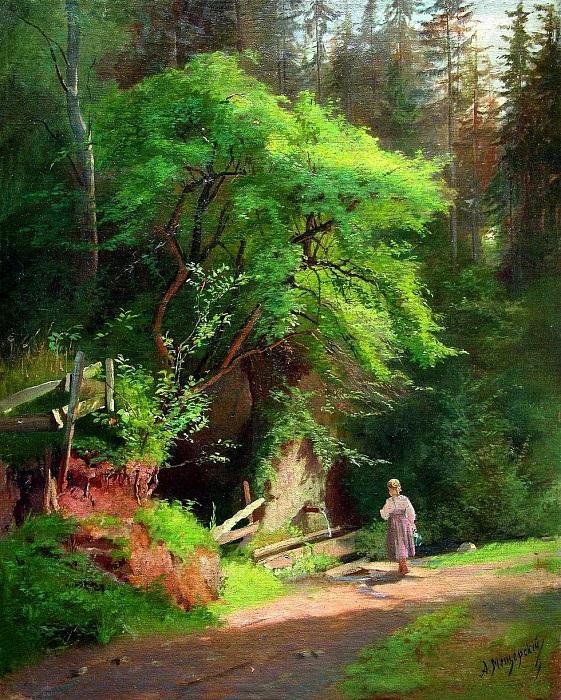 «У родника». (1870 год). Автор: А.И. Мещерский.