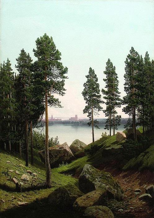 «Пейзаж с озером». (1870-е). Автор: А.И. Мещерский.