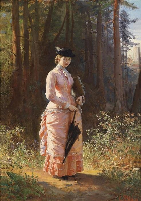 <br>Леди с зонтиком. (1894 год). Автор: Карл фон Блаас.