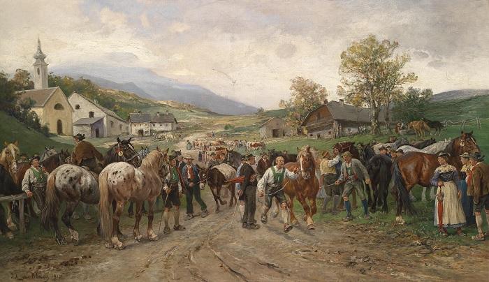 Конная ярмарка. (1917 год). Автор: Юлиус фон Блаас.