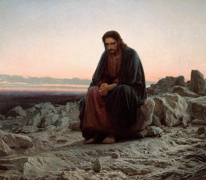Христос в пустыне. Автор: Иван Крамской.