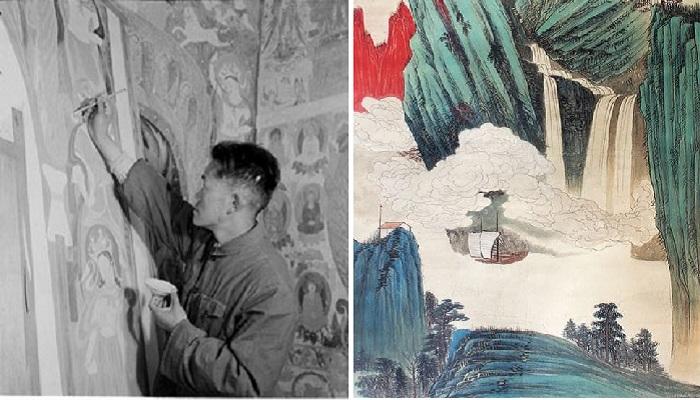 Чжан Дацянь в пещерах Дуньхуане.
