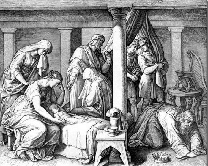 Сокрушение Давида. Гравюра. Автор: Юлиус фон Карольсфельд.