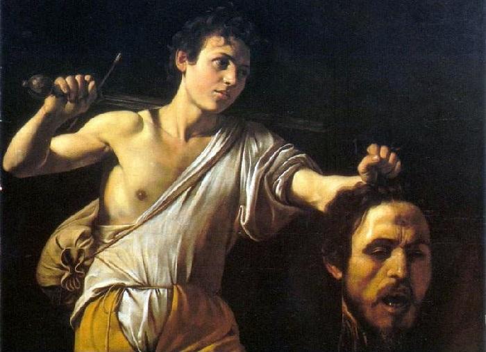 Давид и голова Голиафа.  Автор: Караваджо.