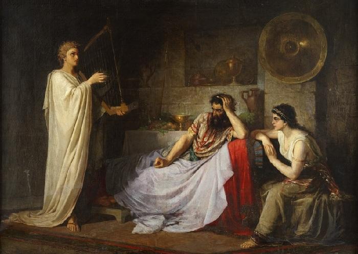 Давид, играющий на арфе перед Саулом и Мелхолой. Автор: Плюснин Н.М.
