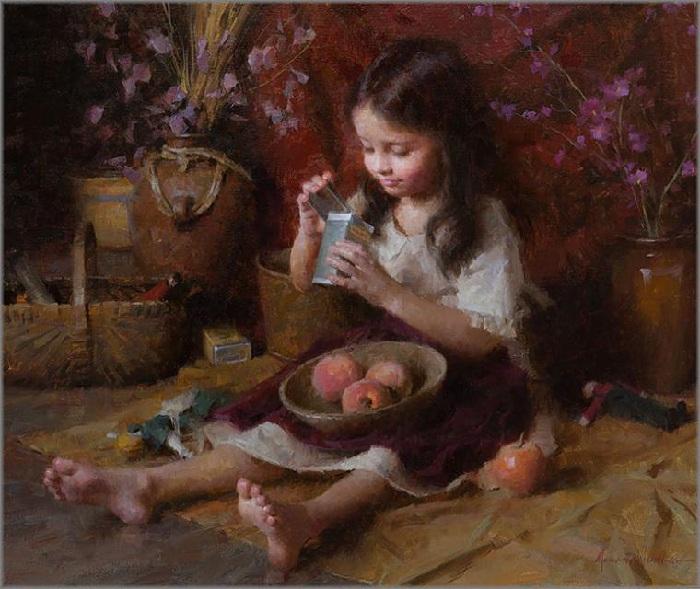 «Девочка с персиками». Автор: Morgan Weistling.