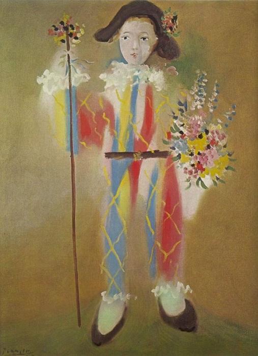 «Пауло в костюме Арлекина с цветами». (1923). Автор: Пабло Пикассо.