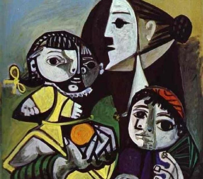 Франсуаза с детьми.  Автор: Пабло Пикассо.