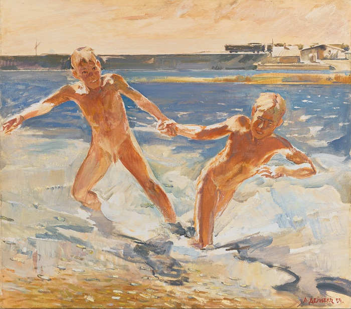 «На Донбассе». (1954 год). Холст, масло. (423 тыс. Sotheby's, Лондон. 2016 г.). Автор: Александр Дейнека.