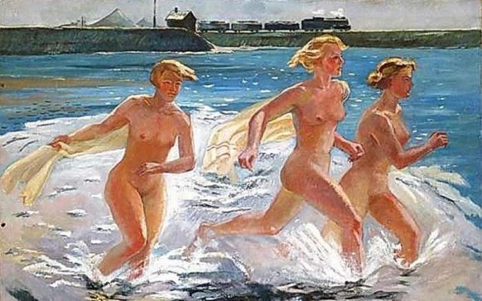 «Бегущие девушки». (1941 год). Автор: Александр Дейнека.
