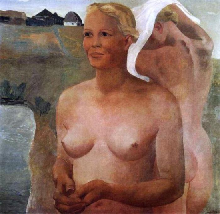 «Купающиеся девушки». (1933 год). Автор: Александр Дейнека.