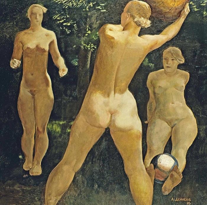 «Игра в мяч». (1932 год). Автор: Александр Дейнека.
