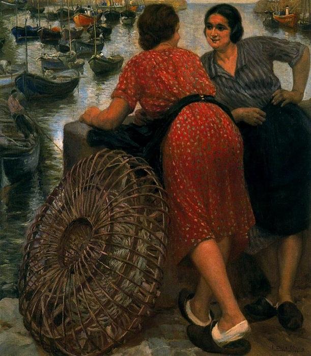 «Женщины с сетями для ловли лангустов». Автор: Сальвадор Диас Игнасио Руис де Олано.