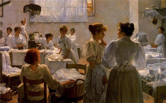 «Прачечная (Гладильщицы)». (1895 год). Автор: Сальвадор Диас Игнасио Руис де Олано.