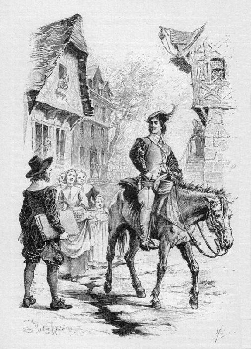 «Молодой гасконский дворянин д'Артаньян приезжает в Париж, надеясь на место в полку мушкетёров».(1894). Автор: Морис Лелуар.