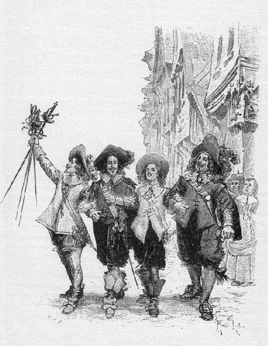 «Д'Артаньян шёл между Атосом и Портосом…» (1894). Автор: Морис Лелуар.