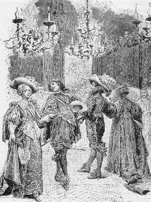 «На балу. Королева одевает 12 алмазных подвесок». (1894). Автор: Морис Лелуар.