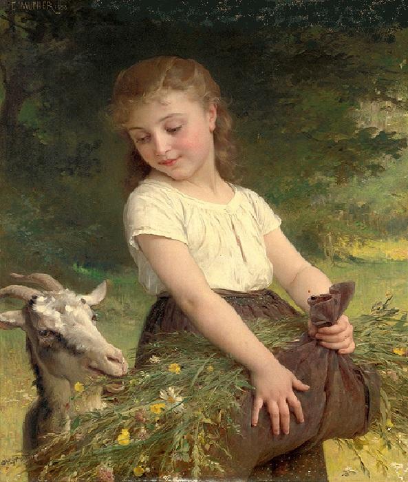 «Девочка с козой». Автор: Эмиль Мунье.