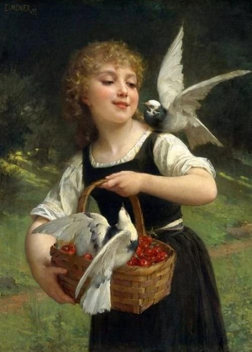 «Девочка и голуби». Автор: Эмиль Мунье.