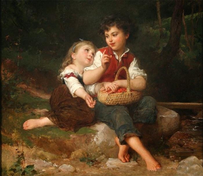 «Дети в лесу».  Автор: Эмиль Мунье.