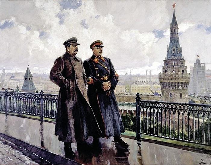 «И. В. Сталин и К Е. Ворошилов в Кремле». Автор: А. Герасимов.