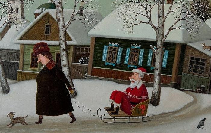 Обаятельные картины Валентина Губарева, вызывающие улыбку, а иногда сочувствие.