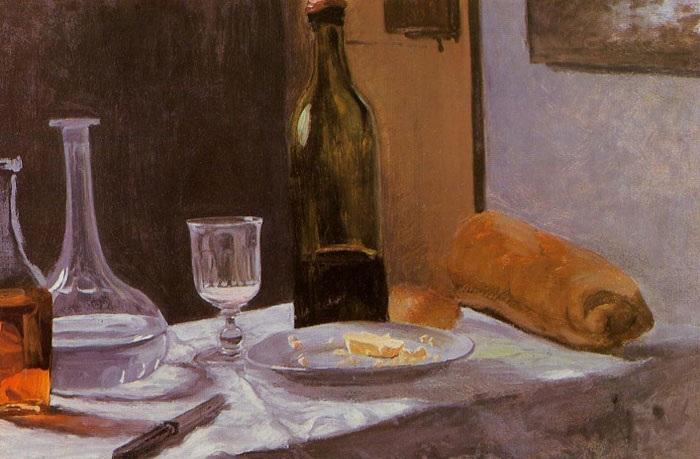 «Натюрморт с бутылкой, графином, хлебом и вином». Автор: Моне Клод.