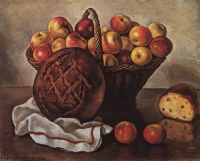 «Натюрморт с яблоками и круглым хлебом». (1948). Автор: Зинаида Серебрякова.