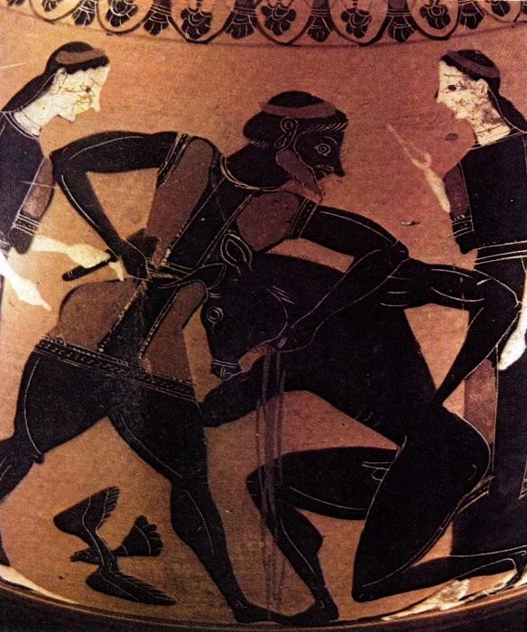 Античная вазопись. «Тесей убивает Минотавра».