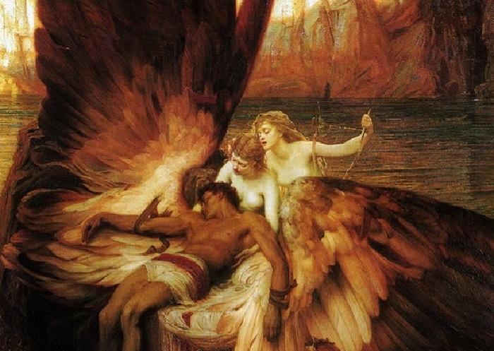 «Оплакивание Икара». Фрагмент. (1898). Автор: Герберт Джеймс Дрейпер.