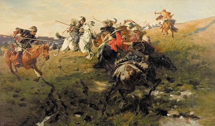«Схватка казаков с татарами». Автор: Юзеф Брандт.